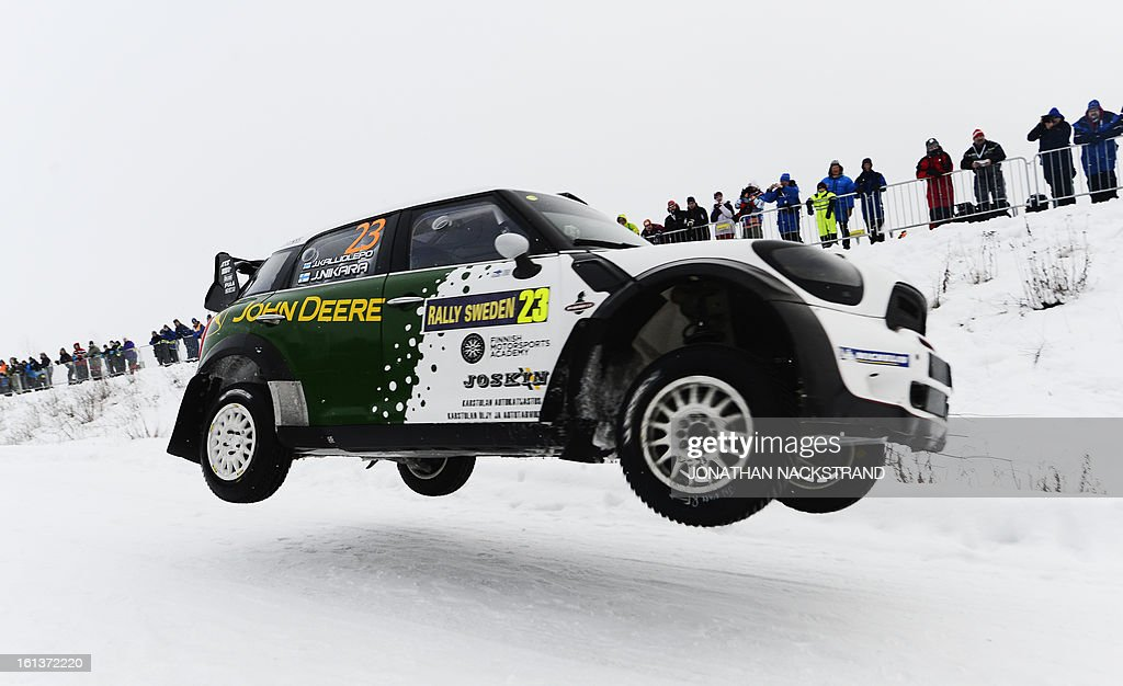 Finland's Jarkko Nikara and his co-driver Jarkko Kalliolepo steer their Mini Countryman John Cooper Works WRC during the 19th Rally Sweden, second round of the FIA World Rally Championship on February 10, 2013 in Kirkenaer, Norway. AFP PHOTO/JONATHAN NACKSTRAND