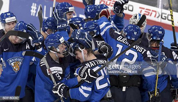 Finland's Jesse Puljujarvi and Julius Nattinen celebrate after beating Canada 65 after the 2016 IIHF World Junior Ice Hockey Championship...