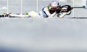 Finland's Kaisa Makarainen competes in the women's Biathlon 15km Individual at Whistler Olympic Park on February 18 2010 during the Vancouver Winter...