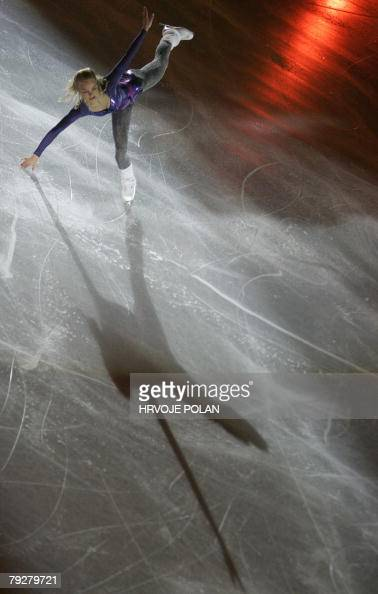 Finland's Kiira Korpi performs an exhibition program at the Dom Sportova Arena in Zagreb 27 January 2008 during the gala of the European Figure...