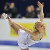 Finland's Kiira Korpi performs her free skating program at the Dom Sportova Arena in Zagreb 26 January 2008 during the European Figure Skating...