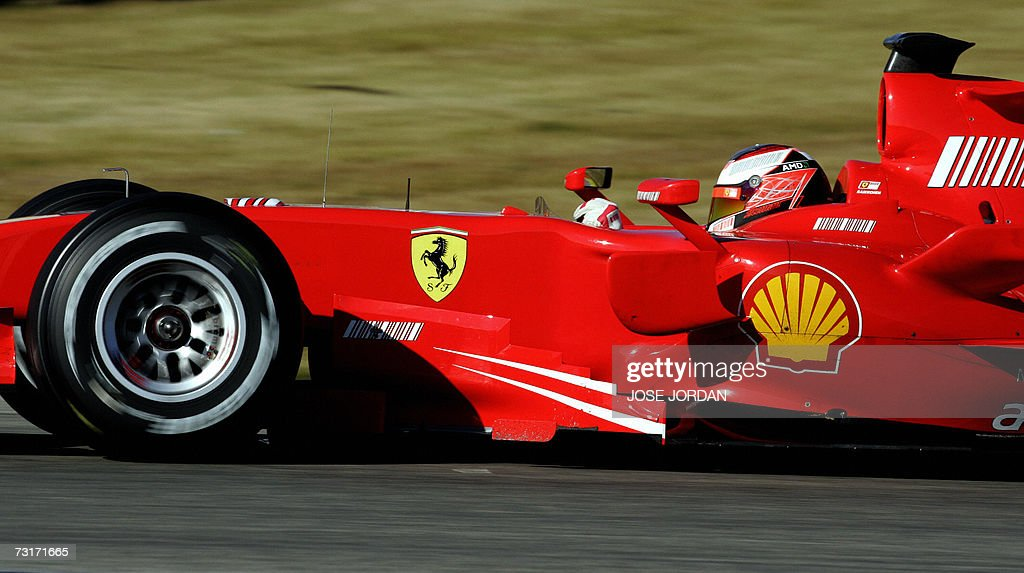 Finland's Kimi Raikkonen drives his Ferrari during a test session at the Ricardo Tormo race track in Cheste near Valencia 01 February 2007 AFP...
