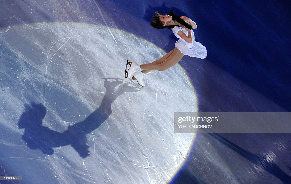 Finland's Laura Lepisto performs during the exhibition gala of the World Figure Skating Championships on March 28, 2010 at the Palavela ice-rink in Turin.