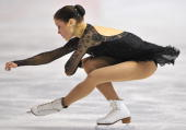 Finland's Laura Lepisto performs her free skating program at the Dom Sportova Arena in Zagreb 26 January 2008 during the European Figure Skating...
