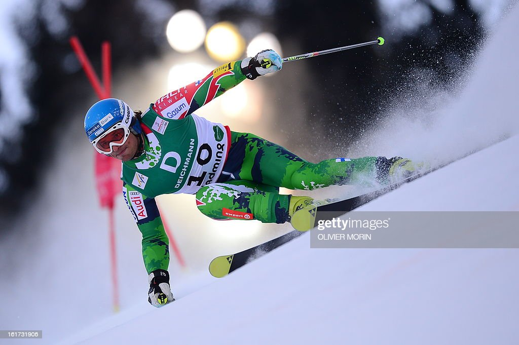 Finland's Marcus Sandell skis during the first run of the men's Giant slalom at the 2013 Ski World Championships in Schladming, Austria on February 15, 2013.