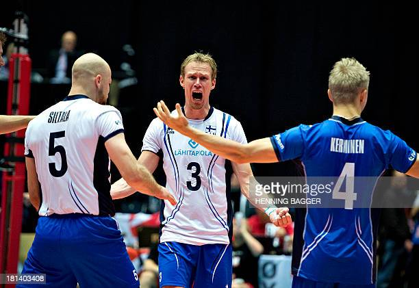 Finland's Mikko Esko reacts during the Velux 2013 European Championship Men Group C volleyball match Finland vs The Netherlands on September 20 2013...