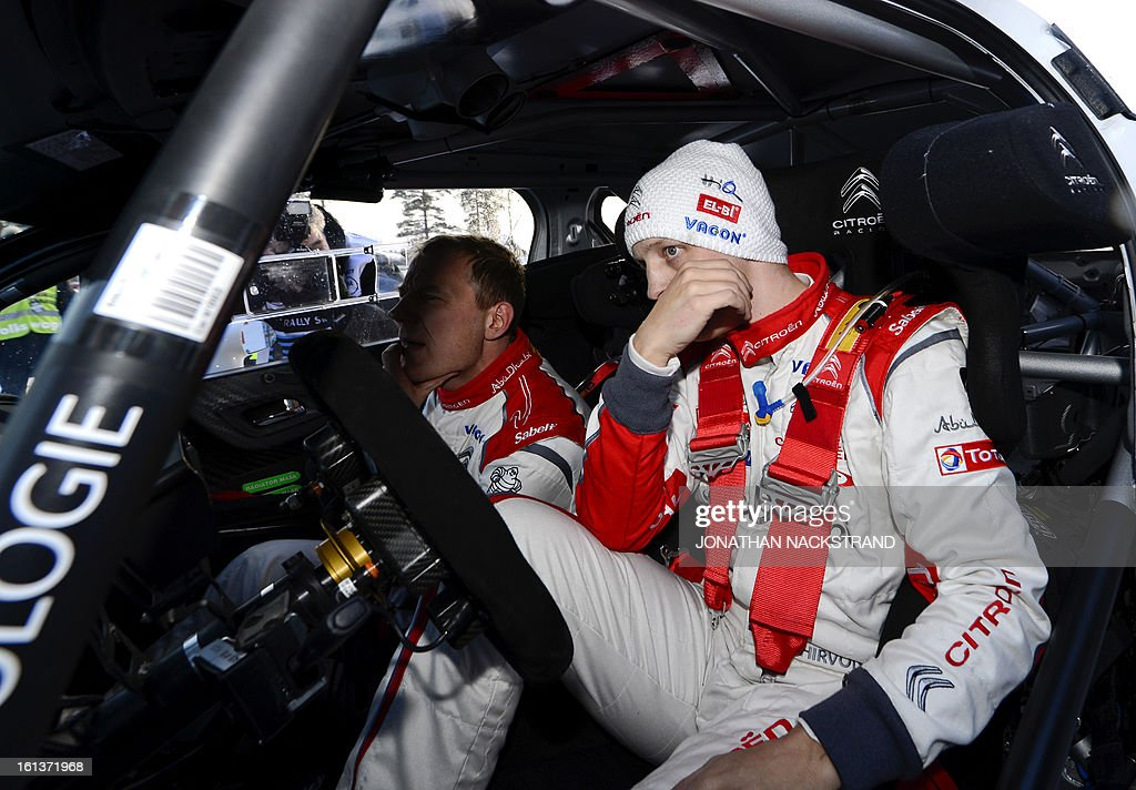 Finland's Mikko Hirvonen reacts after crossing the finish line of the 22nd and the last stage of Rally Sweden, FIA World Rally Championship second round in Karlstad, Sweden on February 10, 2013.
