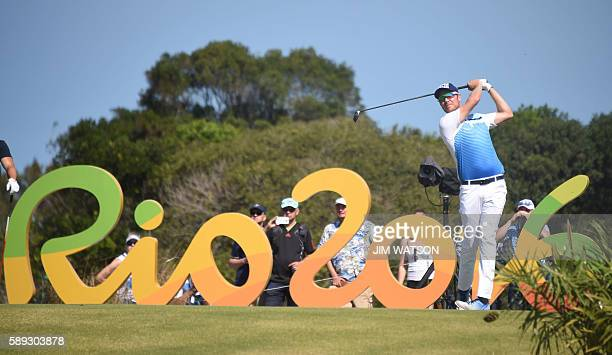 Finland's Mikko Ilonen competes in the men's individual stroke play at the Olympic Golf course during the Rio 2016 Olympic Games in Rio de Janeiro on...
