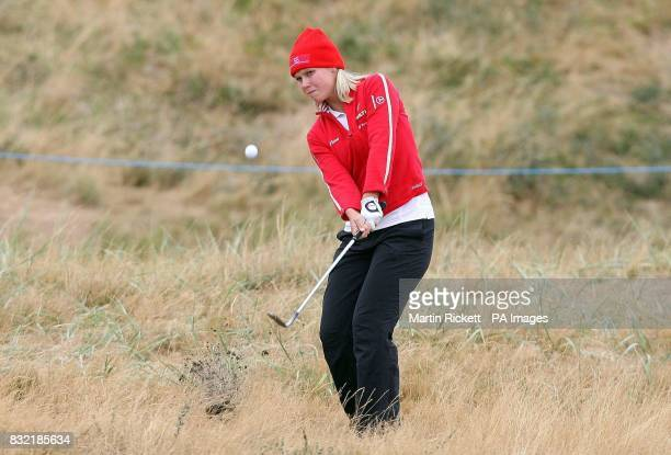 Finland's Minea Blomqvist plays out of the rough on the 14th Fairway during the second round of the Weetabix Women's British Open at Royal Lytham and...