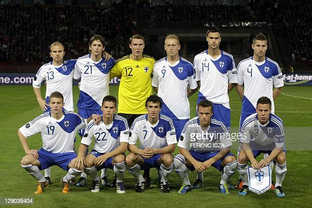 Finland's National soccer team pose for a photo proir the UEFA Euro 2012 Group E qualifying football match Hungary vs Finland in Puskas stadium in...