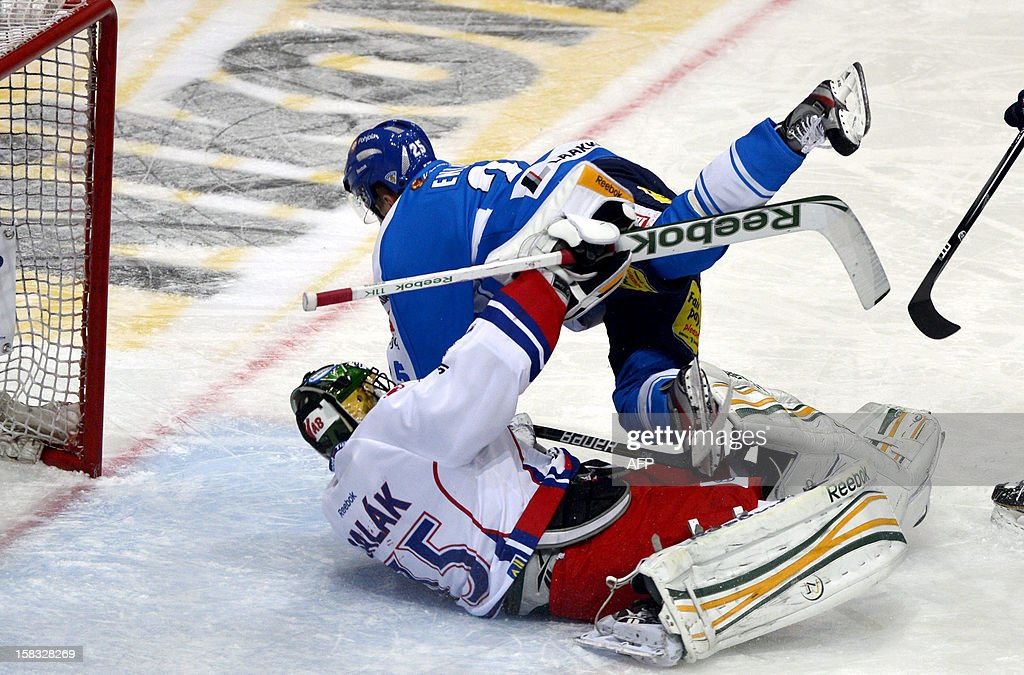 Finland's Oskari Osala falls on Czech goalkeeper Alexander Salak during the second period of the Ice hockey Euro Hockey Tour's Channel One Cup match Finland vs Czech Republic in Helsinki on December 13, 2012.