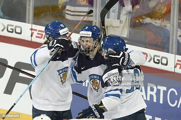 Finland's Patrik Laine Jesse Puljujärvi and Aleksi Saarela celebrate the 13 goal by Saarela during the 2016 IIHF World Junior Ice Hockey Championship...
