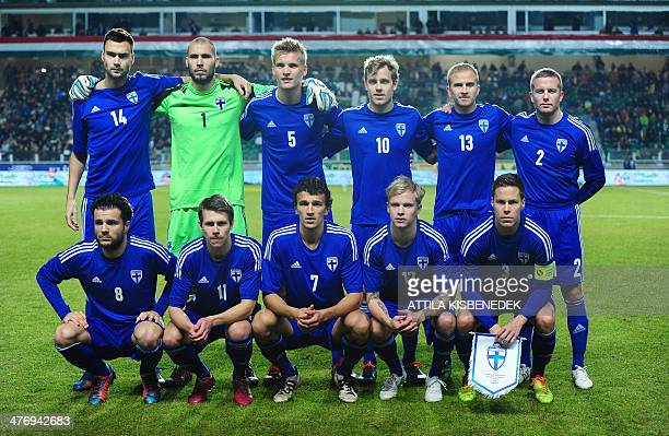 Finland's players pose for a team picture prior to the International friendly football match Hungary vs Finland in Gyor Hungary on March 5 2014...