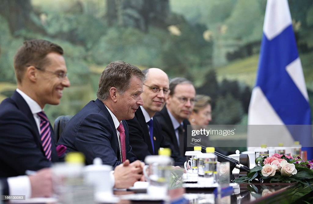 Finland's President Sauli Niinisto and his delegation attend a meeting with Chinese premier Li Keqiang (not pictured) at the Great Hall of the People, on April 9, 2013 in Beijing, China. Niinisto is due to discuss bi-lateral relations, EU and international issues, including the current tension over North Korea's threats against the US and South Korea.