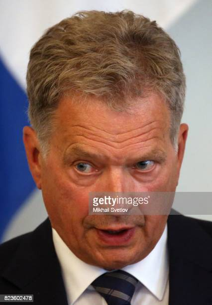 Finland's President Sauli Niinisto holds a joint press conference with Russian President Vladimir Putin July 27 2017 in Savonlinna Finland Putin is...