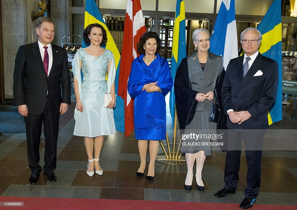 Finland's President Sauli Niinisto, Jenni Haukio, <a gi-track='captionPersonalityLinkClicked' href=/galleries/search?phrase=Queen+Silvia+of+Sweden&family=editorial&specificpeople=160332 ng-click='$event.stopPropagation()'>Queen Silvia of Sweden</a>, Queen Margrethe of Denmark and King Carl Gustaf of Sweden pose at Stockholm Concert Hall, April 21, 2015. 2015 marks the 150th anniversary of Nordic composers <a gi-track='captionPersonalityLinkClicked' href=/galleries/search?phrase=Jean+Sibelius&family=editorial&specificpeople=905695 ng-click='$event.stopPropagation()'>Jean Sibelius</a> of Finland and Carl Nielsen of Denmark, celebrated at the Stockholm Concert Hall with a two-week Sibelius-Nielsen festival.