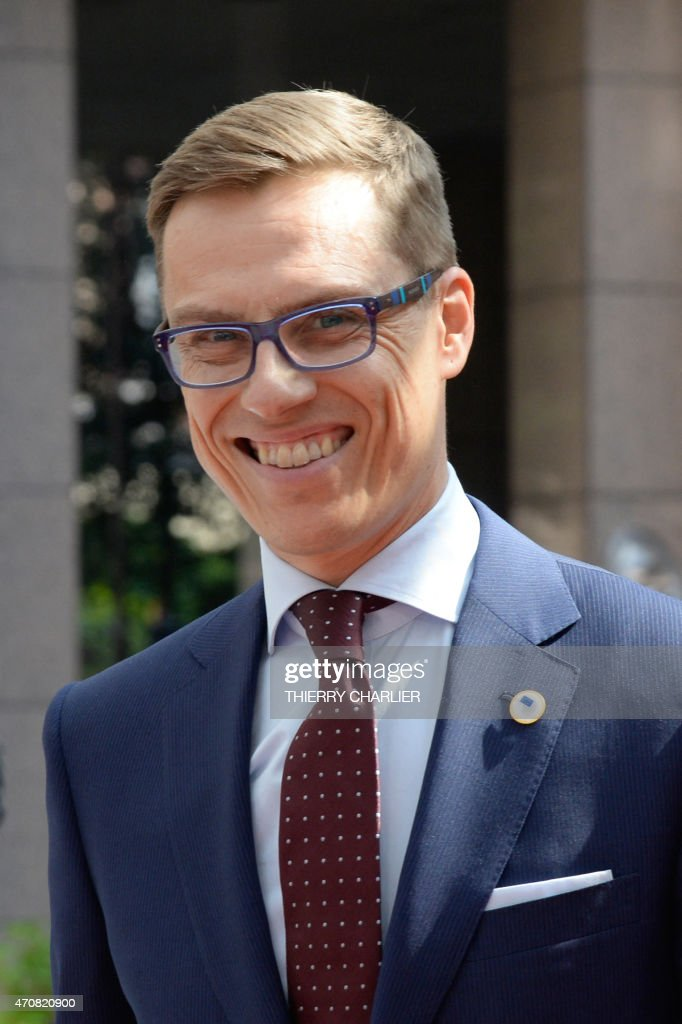 Finland's Prime minister <a gi-track='captionPersonalityLinkClicked' href=/galleries/search?phrase=Alexander+Stubb&family=editorial&specificpeople=2157393 ng-click='$event.stopPropagation()'>Alexander Stubb</a> addresses reporters upon his arrival at the European Council headquarters for an extraordinary summit of European leaders to deal with a worsening migration crisis, on April 23, 2015 in Brussels. European leaders gather on April 23 to consider military action, at an extraordinary summit to deal with a worsening migration crisis after a series of deadly shipwrecks in the Mediterranean.