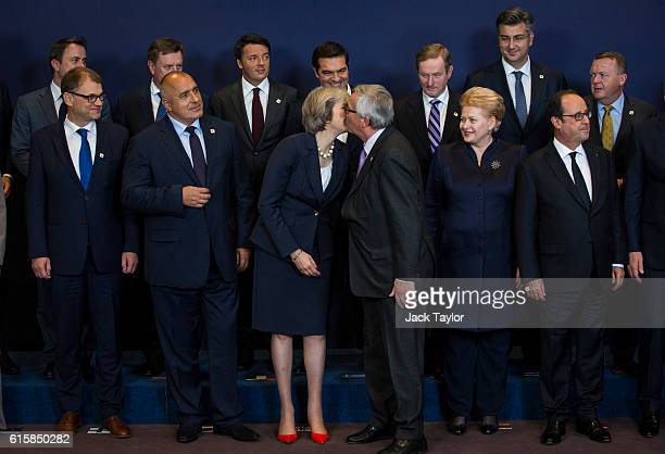 Finland's Prime minister Juha Sipil Bulgaria's Prime minister Boyko Borissov British Prime Minister Theresa May kissing President of the European...
