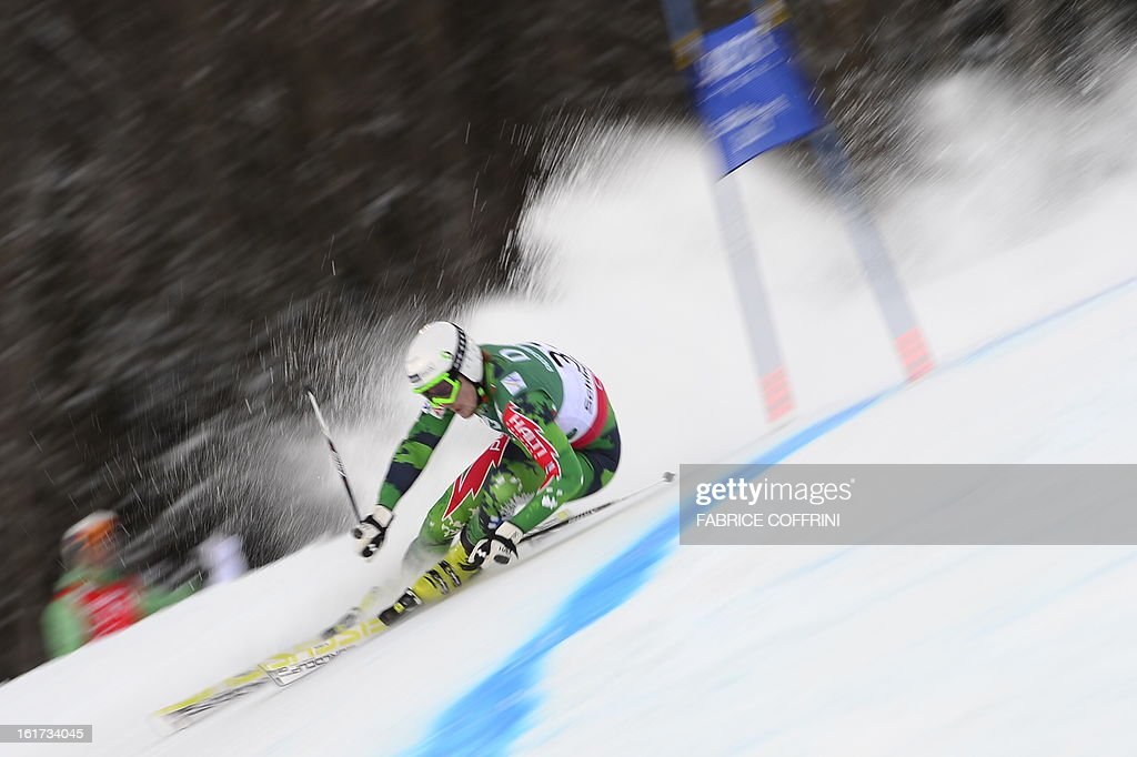 Finland's Samu Torsti skis during the first run of the men's Giant slalom at the 2013 Ski World Championships in Schladming, Austria on February 15, 2013.