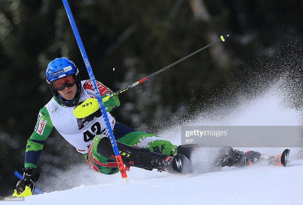 Finland's Santeri Paloniemi competes during the first round of the FIS World Cup men's slalom race on January 27, 2013 in Kitzbuehel, Austrian Alps.