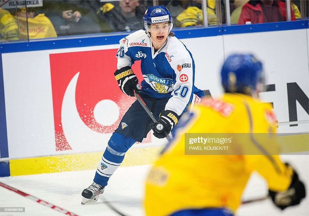 Finland's Sebastian Aho in action during the Euro Hockey Tour match between Sweden and Finland in Behrn Arena in Orebro on February 11 2016 News...