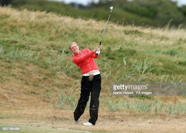 Finland's Ursula Wikstrom plays a shot on the 14th Fairway during the second round of the Weetabix Women's British Open at Royal Lytham and St Annes...