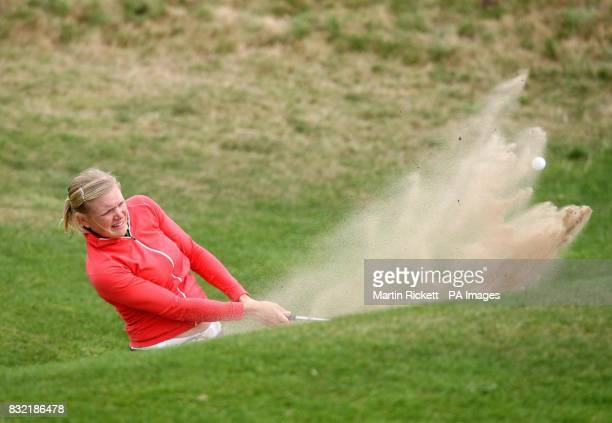 Finland's Ursula Wikstrom plays out of a bunker on the 14th fairway during the second round of the Weetabix Women's British Open at Royal Lytham and...