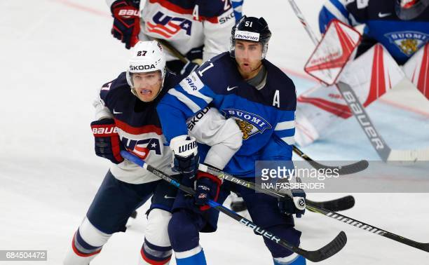 Finland's Valtteri Filppula and USA's Anders Lee vie during the IIHF Men's World Championship Ice Hockey quarterfinal match between USA and Finland...