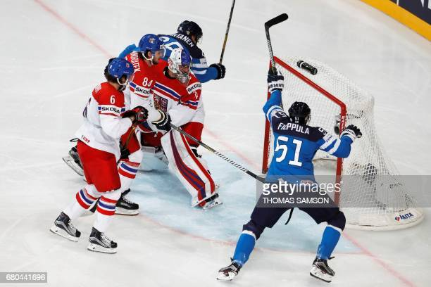 Finland's Valtteri Filppula scores during the IIHF Men's World Championship group B ice hockey match between Finland and Czech Republic in Paris on...