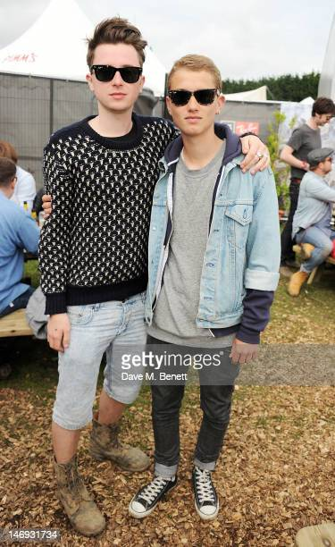 Finlay Kemp and Rafferty Law attend the RayBan Rooms during day two of the Isle of Wight Festival at Seaclose Park on June 23 2012 in Newport Isle of...