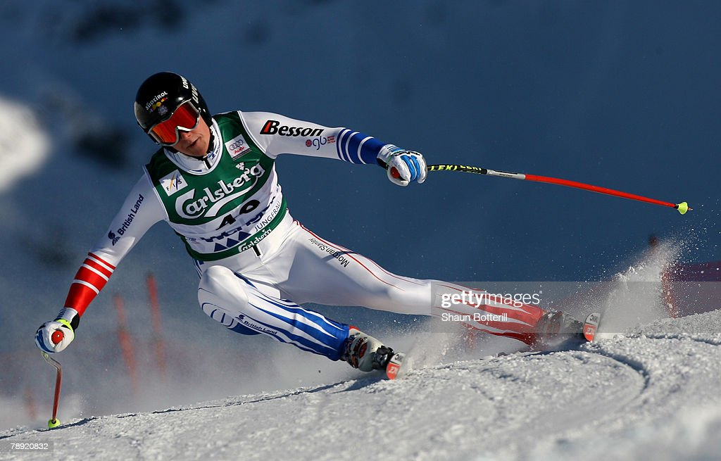 Finlay Mickel of Great Britain in action during the Men's Downhill on January 13, 2008 in Wengen, Switzerland.