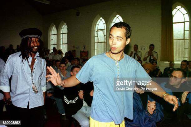 Finley Quaye waves to inmates as he arrives to play a concert at Greenock Prison as a favour to a longlost relative who works there