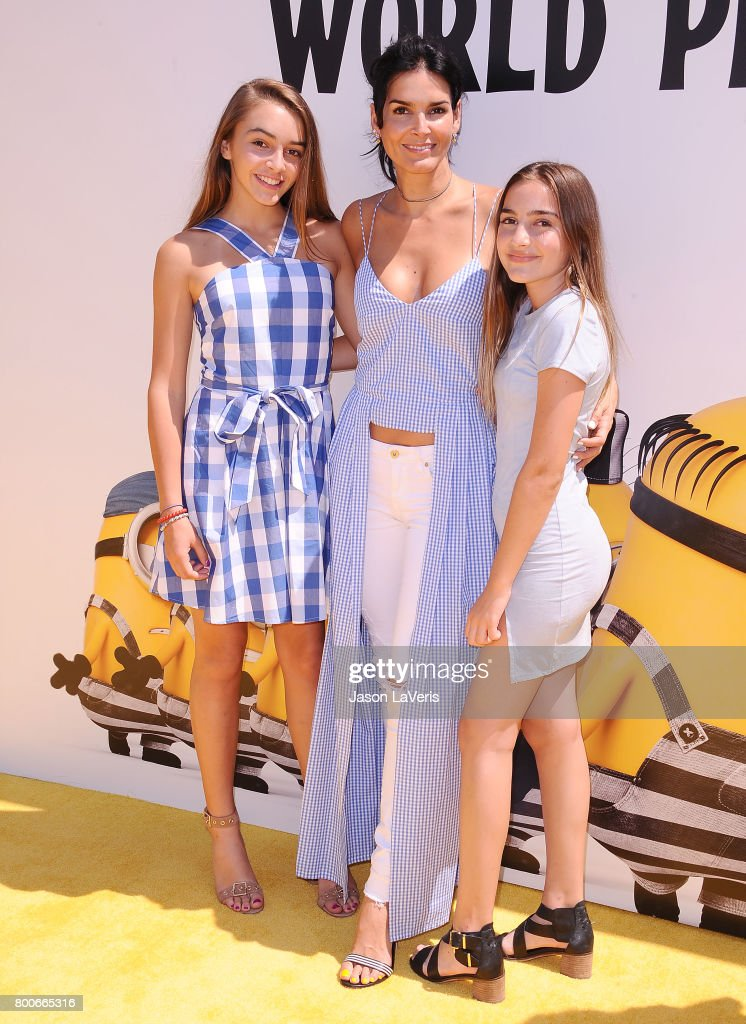 Finley Sehorn, actress Angie Harmon, and Avery Sehorn attend the premiere of 'Despicable Me 3' at The Shrine Auditorium on June 24, 2017 in Los Angeles, California.