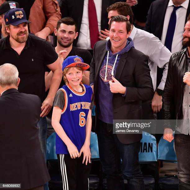 Finn Burns and Ed Burns attend Toronto Raptors Vs New York Knicks game at Madison Square Garden on February 27 2017 in New York City