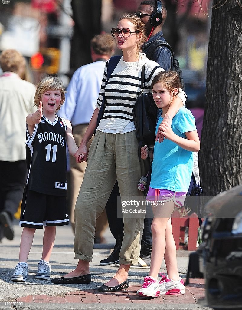 Finn Burns, Christy Turlington Burns and Grace Burns are seen in the West Village on April 10, 2013 in New York City.
