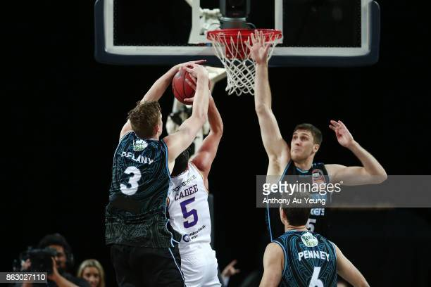 Finn Delany of the Breakers blocks the shot from Jason Cadee of the Kings during the round three NBL match between the New Zealand Breakers and the...