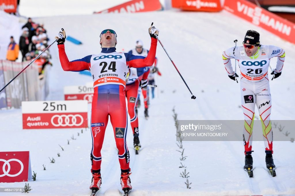 Finn Haagen Krogh of Norway,(L) reacts after winning the men's sprint final ahead of <a gi-track='captionPersonalityLinkClicked' href=/galleries/search?phrase=Alex+Harvey+-+Skier&family=editorial&specificpeople=6719953 ng-click='$event.stopPropagation()'>Alex Harvey</a> of Canada, (R) at the Cross-country Skiing World Cup in Ostersund, Sweden, on February 14, 2015.