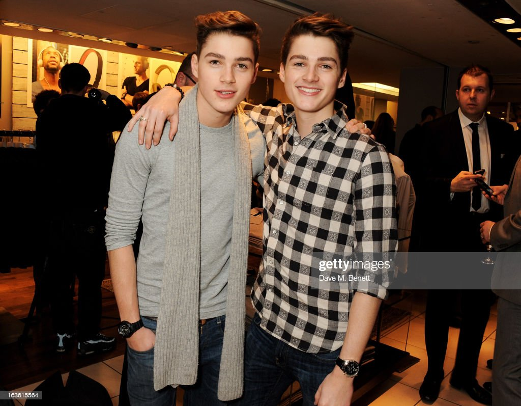 Finn Harries (L) and Jack Harries attend the Panasonic Technics 'Shop To The Beat' Party hosted by George Lamb at French Connection, Oxford Circus, on March 13, 2013 in London, England.