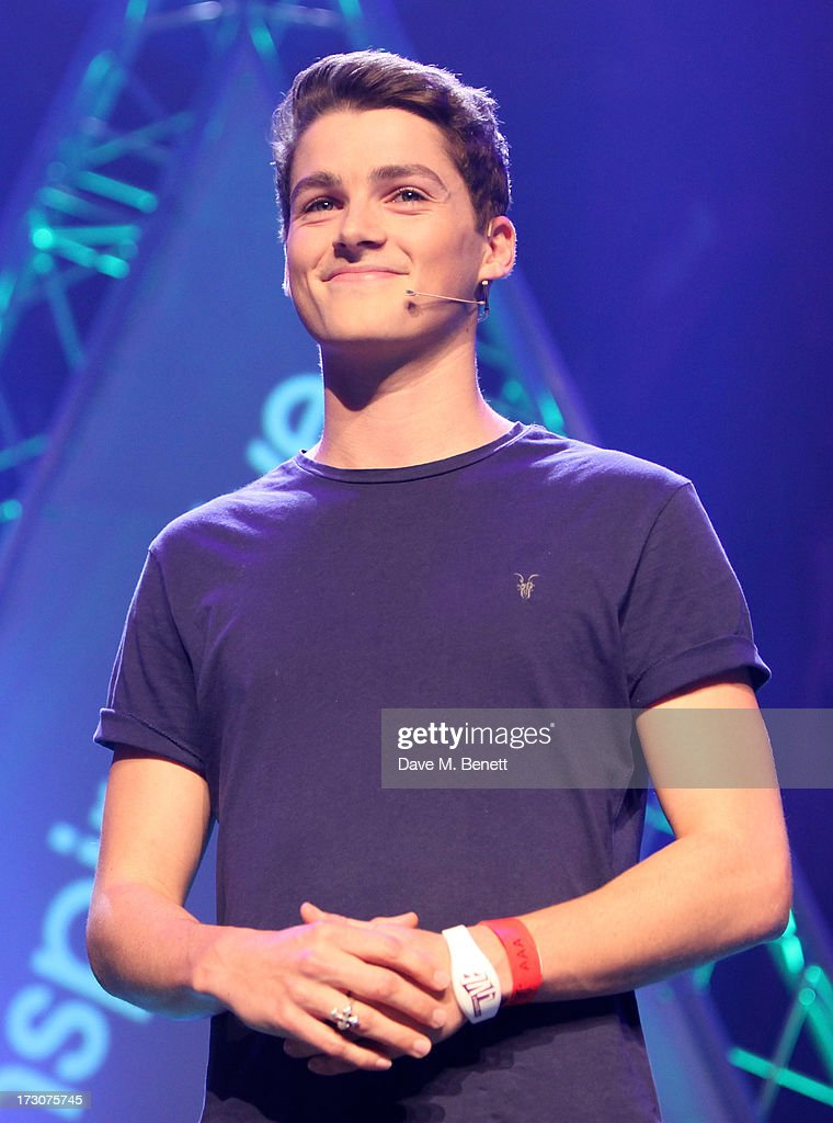 Finn Harries speaks on stage at vInspired Live, a youth social change event, at The Roundhouse on July 6, 2013 in London, England.