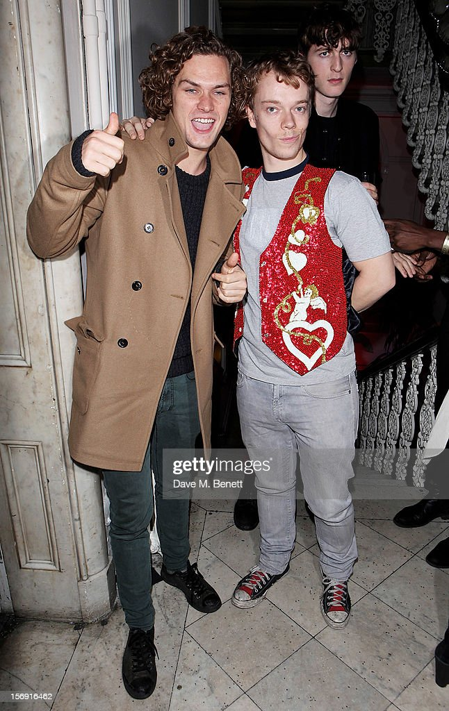Finn Jones (L) and <a gi-track='captionPersonalityLinkClicked' href=/galleries/search?phrase=Alfie+Allen&family=editorial&specificpeople=885196 ng-click='$event.stopPropagation()'>Alfie Allen</a> attend the Cuckoo Club and Show Pony pop up club, celebrating Cuckoo's 7th birthday, at 6 Grosvenor Place on November 24, 2012 in London, England.