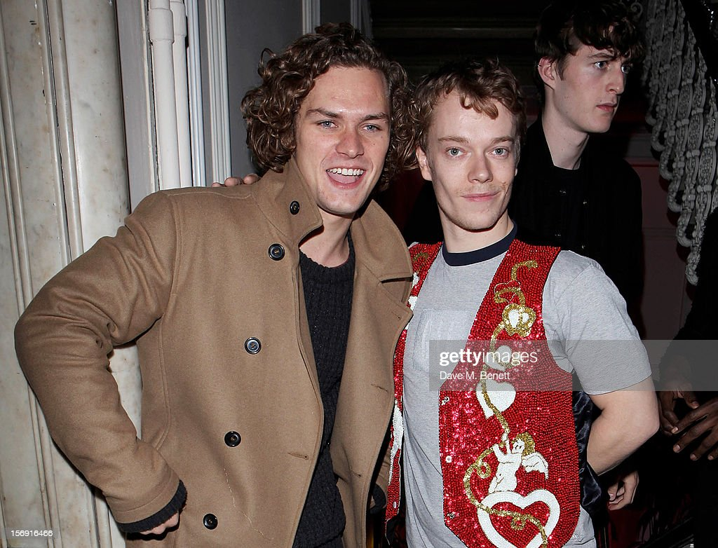 Finn Jones (L) and Alfie Allen attend the Cuckoo Club and Show Pony pop up club, celebrating Cuckoo's 7th birthday, at 6 Grosvenor Place on November 24, 2012 in London, England.