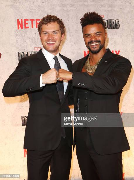Finn Jones and Eka Darville arrive to 'Marvel's The Defenders' New York Premiere at Tribeca Performing Arts Center on July 31 2017 in New York City