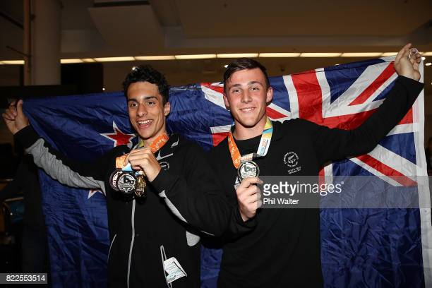 Finn KennardCampbell and Connor Bell of the New Zealand Youth Commonwealth Games team arrive back from the Bahamas Youth Commonwealth Games at the...