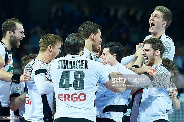 Finn Lemke from Germany celebrates with team mates after victory during the Men's EHF Handball European Championship 2016 match between Germany and...