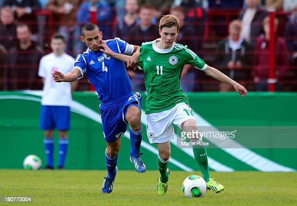 Finn Porath of Germany and Erez Isakov of Israel battle for the ball during the U17 Juniors KOMM MIT tournament match between U17 Germany and U17...