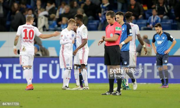 Finn Porath of Hamburg and Gideon Jung of Hamburg looks on during the Bundesliga match between TSG 1899 Hoffenheim and Hamburger SV at Wirsol...