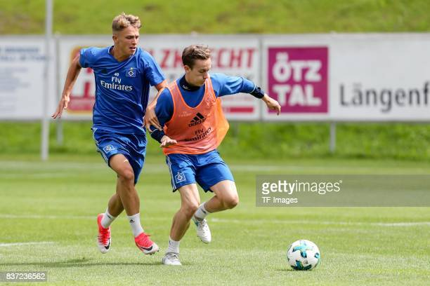 Finn Porath of Hamburg and JannFiete Arp of Hamburg battle for the ball during the Training Camp of Hamburger SV on July 23 2017 in Laengenfeld...