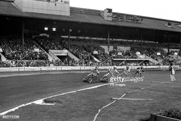 Finn Thomsen Michael Lee and Ole Olsen during Heat 7 of today's InterContinental final of the World Individual Speedway Championship at London's...