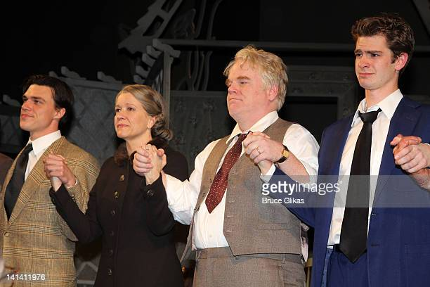Finn Wittrock Linda Emond Philip Seymour Hoffman and Andrew Garfield take the Opening Night Curtain Call for 'Death Of A Salesman' at The Barrymore...