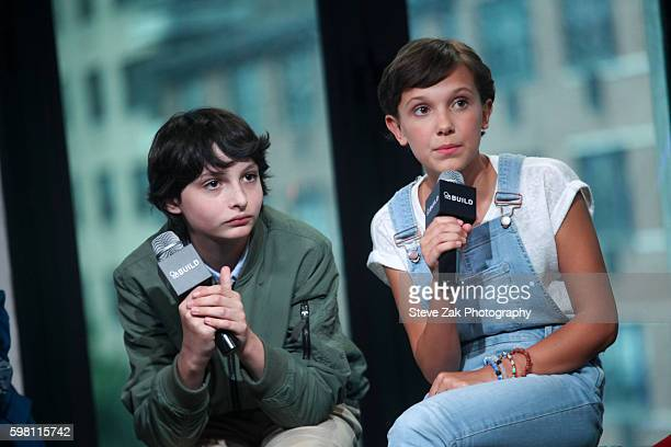 Finn Wolfhard and Millie Bobby Brown attend Build series to discuss 'Stranger Things' at AOL HQ on August 31 2016 in New York City